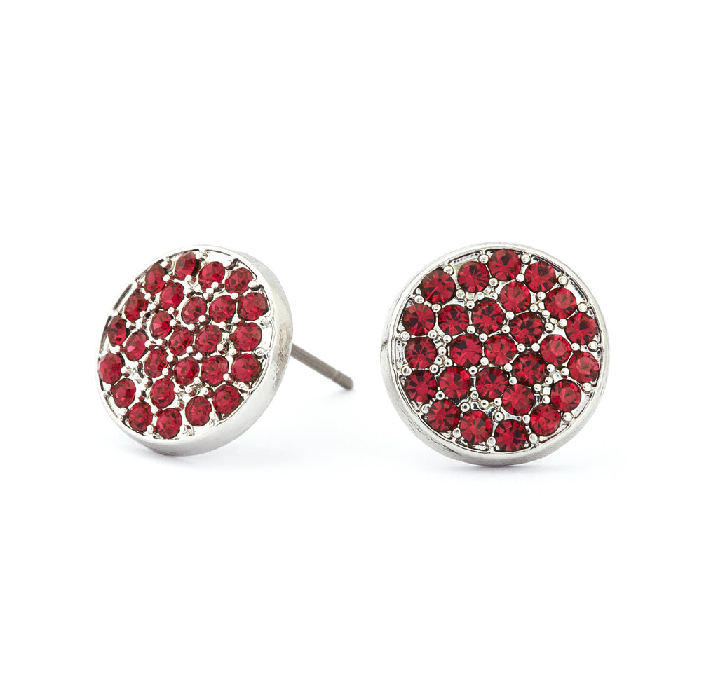 Ruby Crystal Stud Earrings - Stevens Jewellers Letterkenny Donegal
