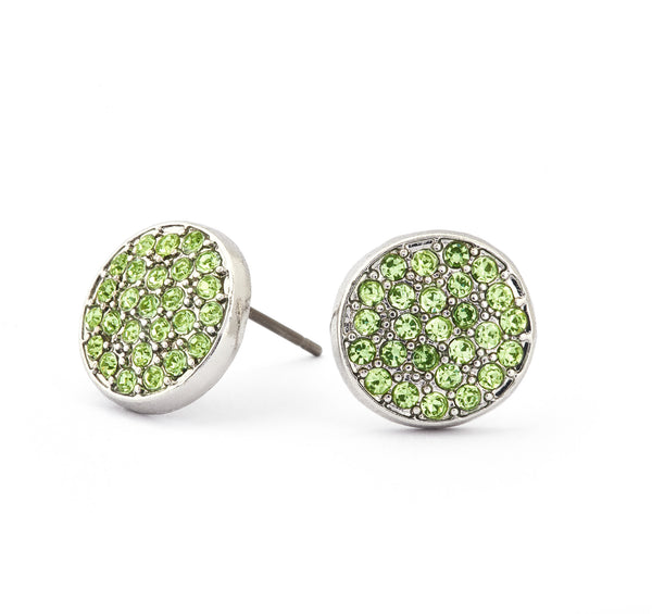 Peridot Crystal Stud Earrings - Stevens Jewellers Letterkenny Donegal