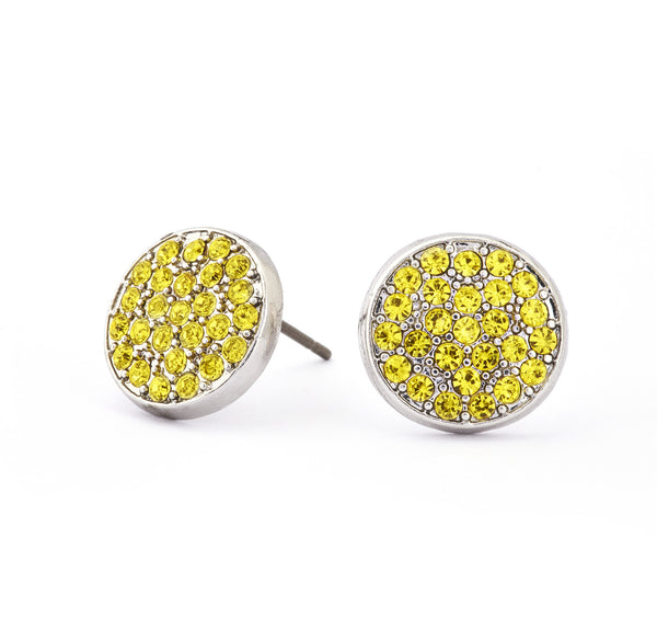 Citrine Crystal Stud Earrings - Stevens Jewellers Letterkenny Donegal