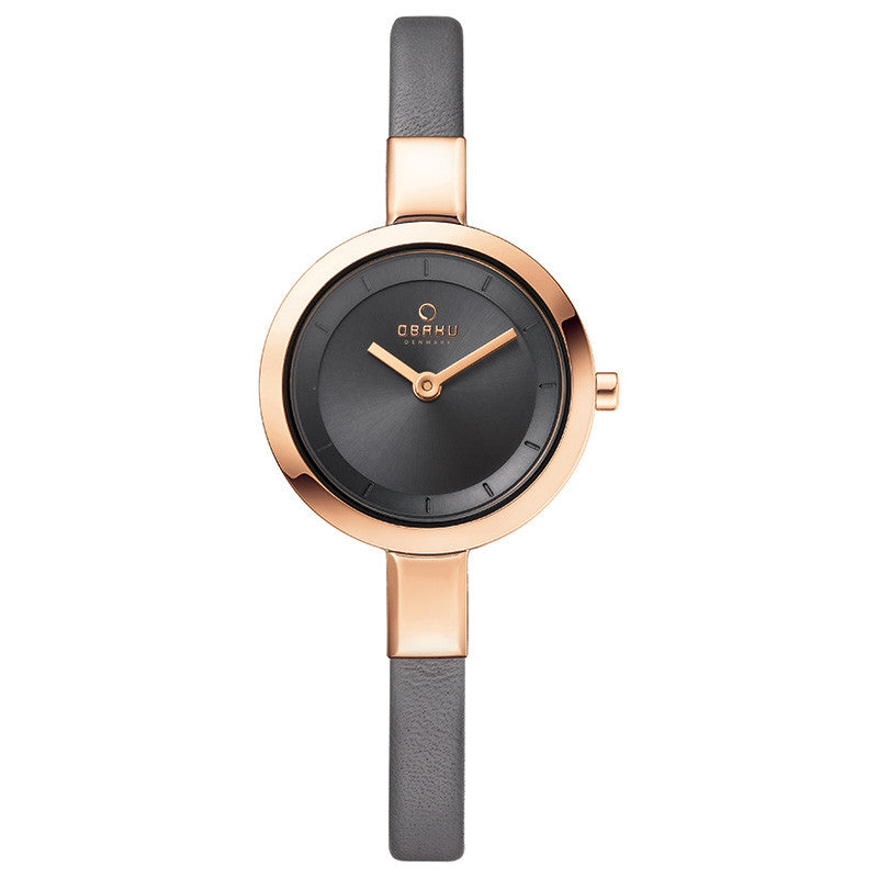 Obaku Ladies Grey Calf Leather Strap Watch - Stevens Jewellers Letterkenny Donegal
