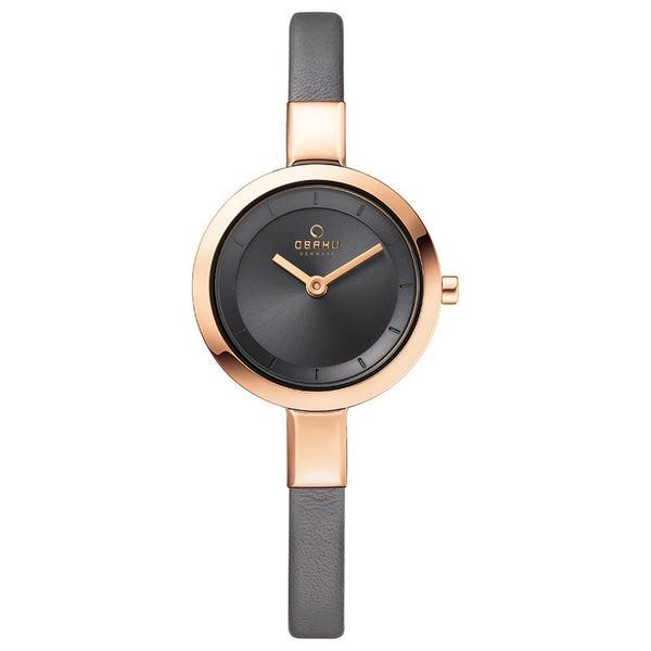 Obaku Ladies Grey Calf Leather Strap Watch