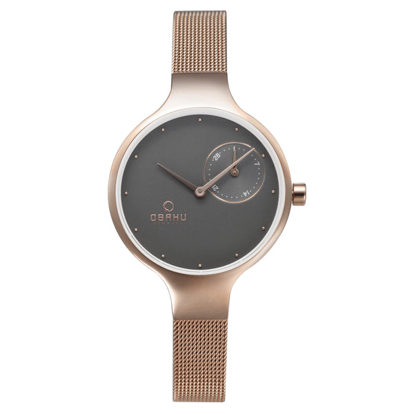 Obaku Women's Wristwatch, Rose Gold, Grey Dial & a Stainless Steel Mesh