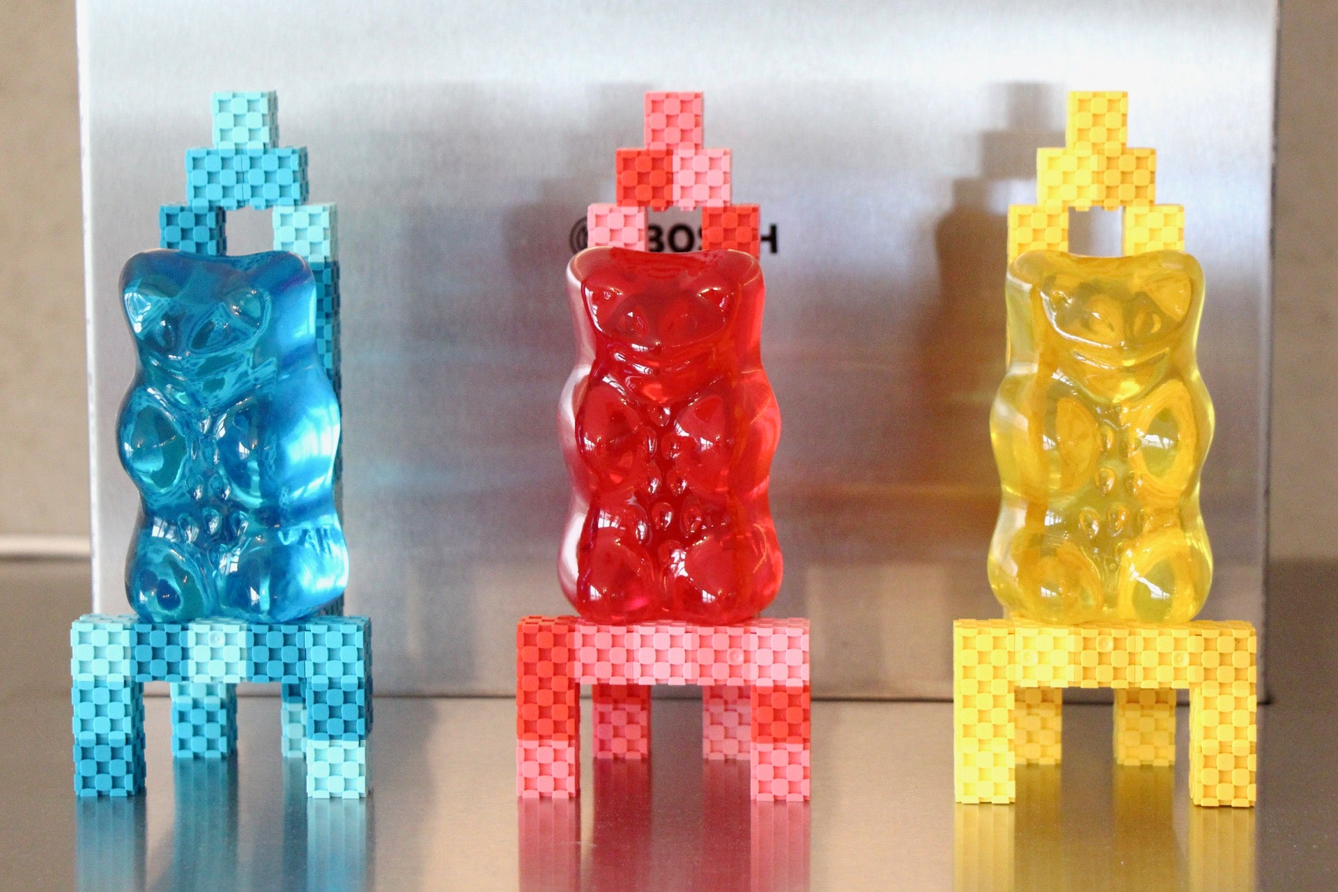 gummy bear seats made with Lini cubes