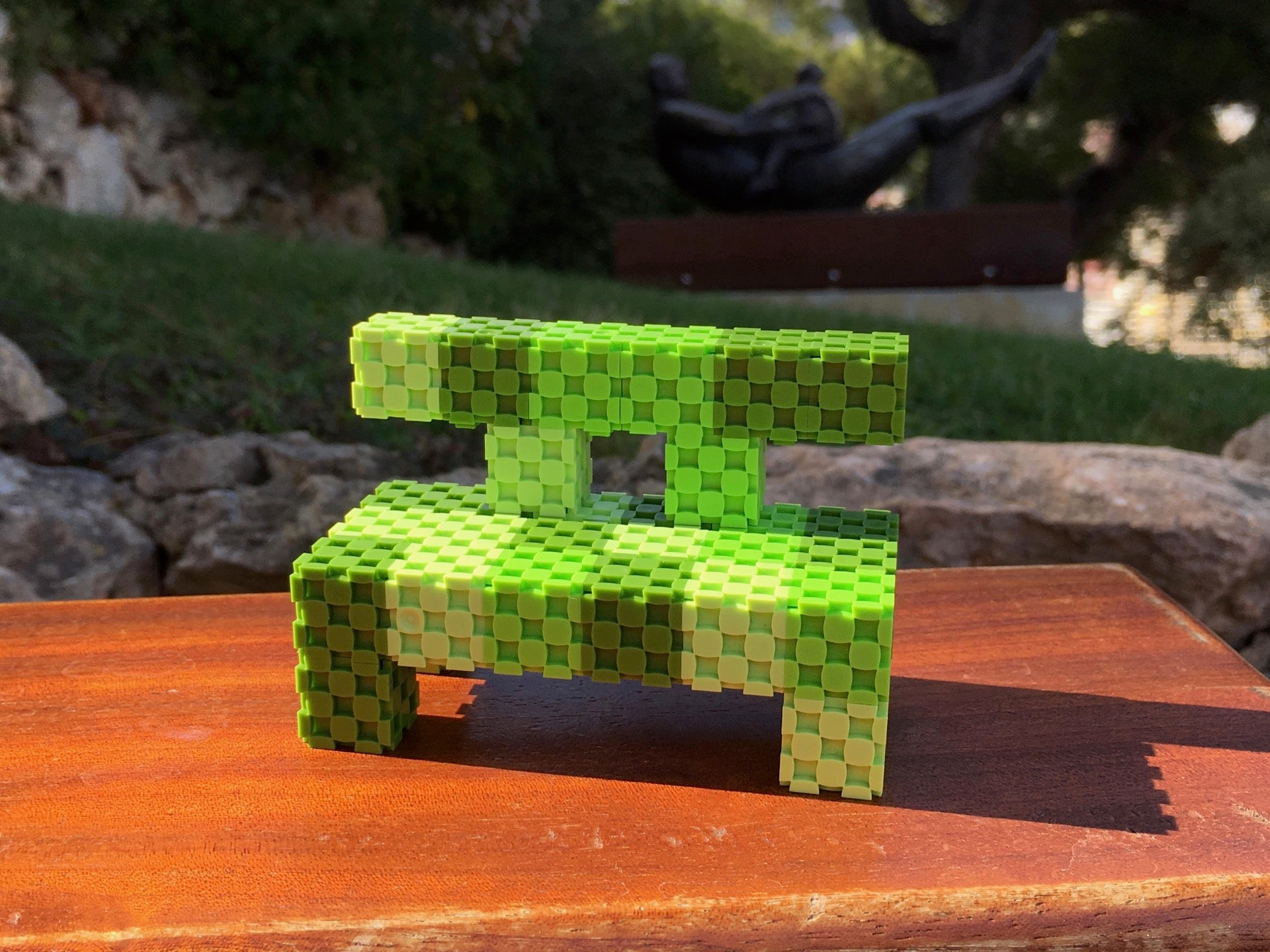 bench made with Lini cubes