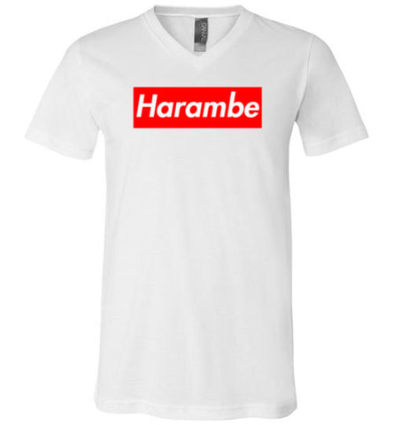 Harambe Supreme Canvas Unisex V-Neck T-Shirt