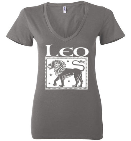 Leo Women's Zodiac Sign Bella Ladies Deep V-Neck Shirt