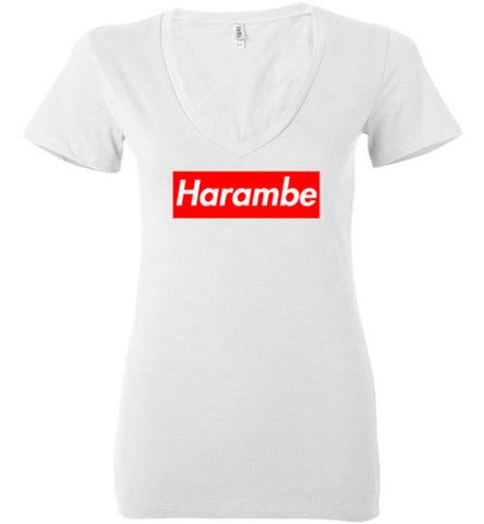 Harambe Supreme Bella Ladies Deep V-Neck Shirt