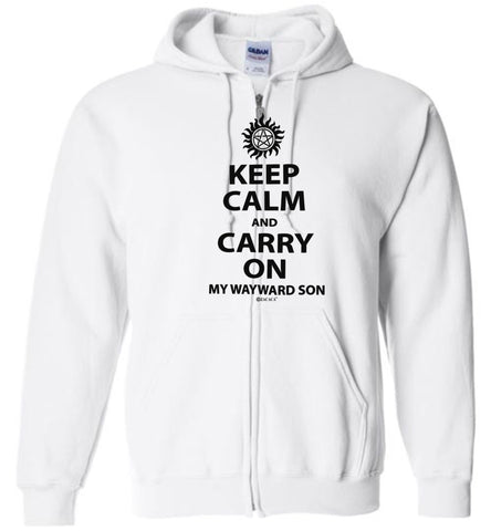 Keep Calm and Carry On My Wayward Son Gildan Zip Hoodie T-Shirt