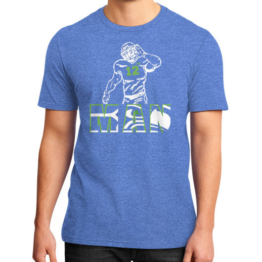 12th man District T-Shirt (on man) Heather blue Zacaca Shop USA