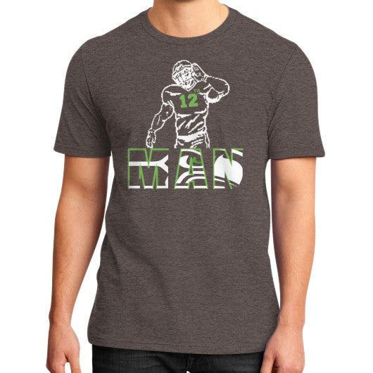 12th man District T-Shirt (on man) Heather brown Zacaca Shop USA