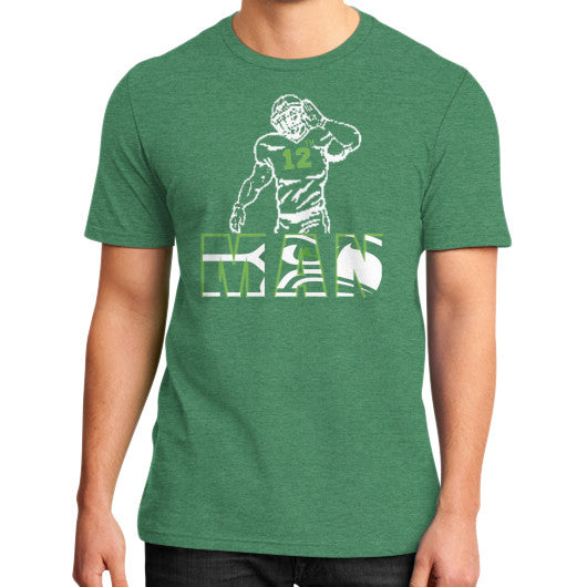 12th man District T-Shirt (on man) Heather green Zacaca Shop USA