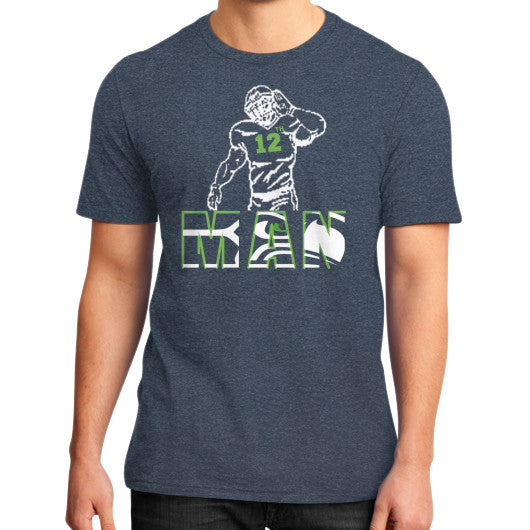 12th man District T-Shirt (on man) Heather navy Zacaca Shop USA