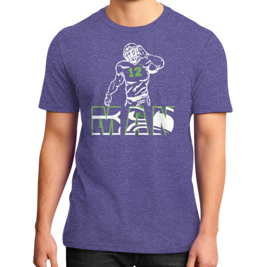 12th man District T-Shirt (on man) Heather purple Zacaca Shop USA