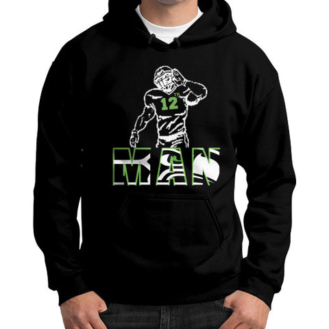 12th man Gildan Hoodie (on man) Black Zacaca Shop USA