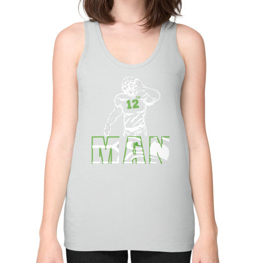 12th man Unisex Fine Jersey Tank (on woman) Silver Zacaca Shop USA