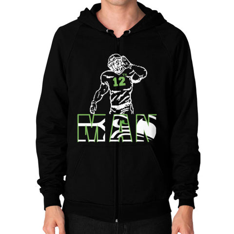 12th man Zip Hoodie (on man) Black Zacaca Shop USA