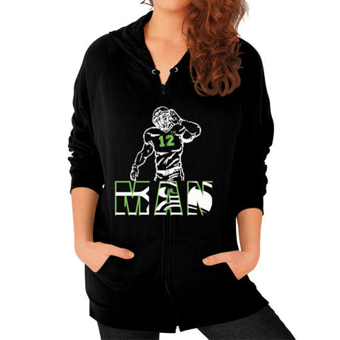 12th man Zip Hoodie (on woman) Black Zacaca Shop USA
