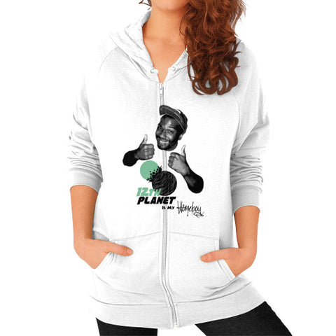 12TH PLANET IS MY Zip Hoodie (on woman) White Zacaca Shop USA