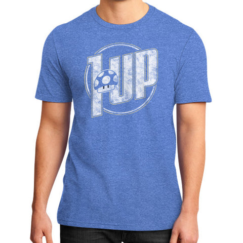 1 UP District T-Shirt (on man) Heather blue Zacaca Shop USA