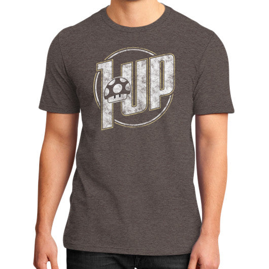 1 UP District T-Shirt (on man) Heather brown Zacaca Shop USA