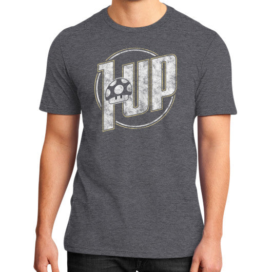 1 UP District T-Shirt (on man) Heather charcoal Zacaca Shop USA