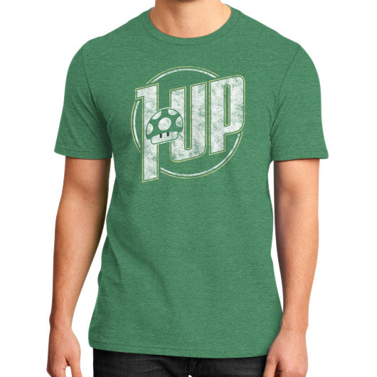 1 UP District T-Shirt (on man) Heather green Zacaca Shop USA