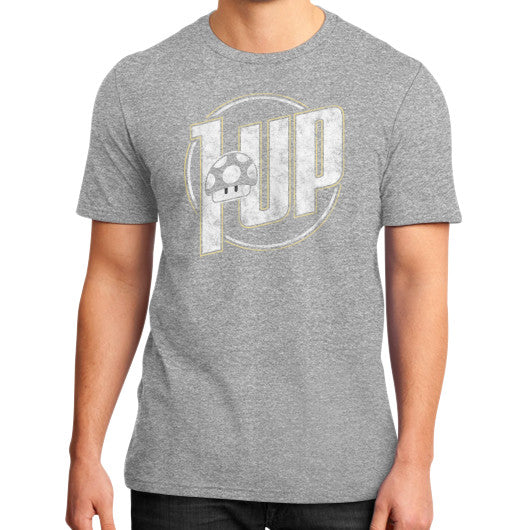 1 UP District T-Shirt (on man) Heather grey Zacaca Shop USA