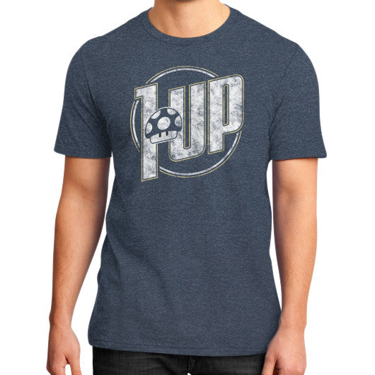 1 UP District T-Shirt (on man) Heather navy Zacaca Shop USA