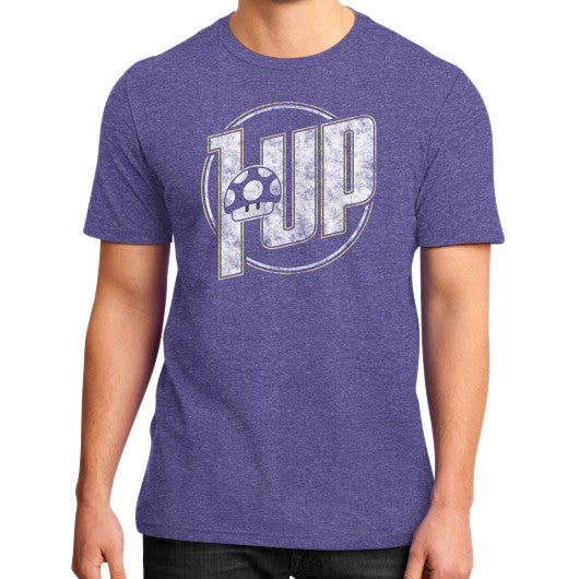 1 UP District T-Shirt (on man) Heather purple Zacaca Shop USA