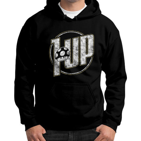 1 UP Gildan Hoodie (on man) Black Zacaca Shop USA
