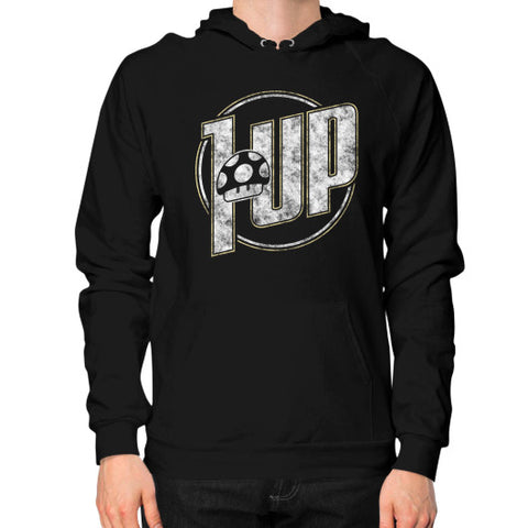 1 UP Hoodie (on man) Black Zacaca Shop USA