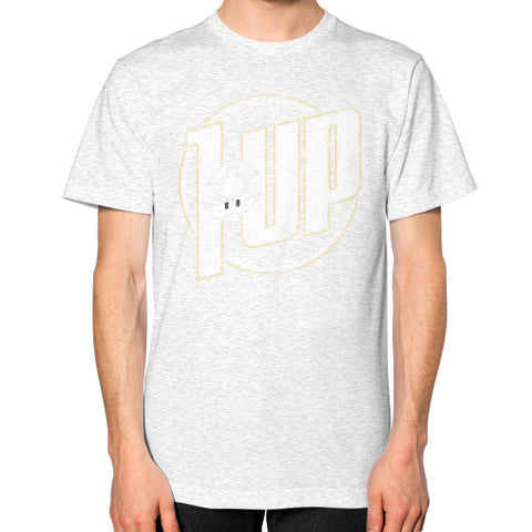 1 UP Unisex T-Shirt (on man) Ash grey Zacaca Shop USA