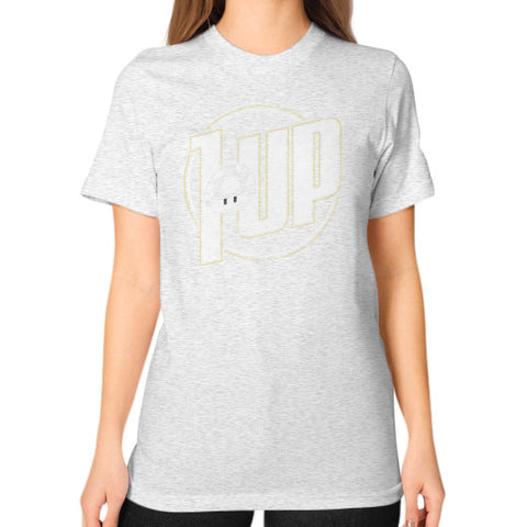 1 UP Unisex T-Shirt (on woman) Ash grey Zacaca Shop USA