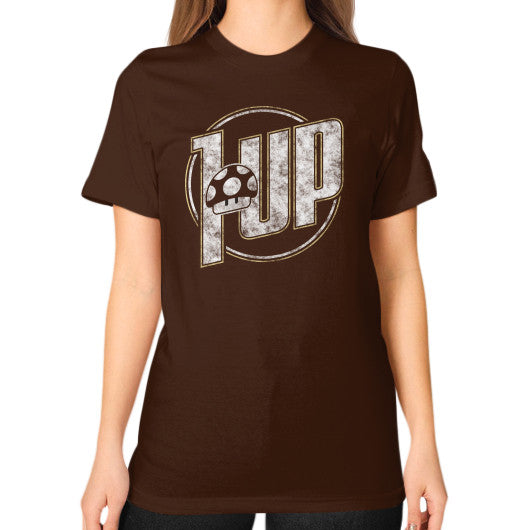 1 UP Unisex T-Shirt (on woman) Brown Zacaca Shop USA