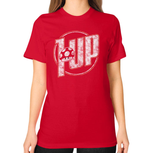 1 UP Unisex T-Shirt (on woman) Red Zacaca Shop USA