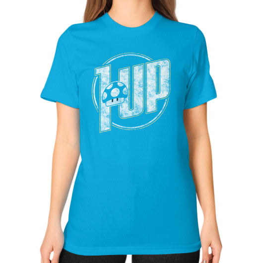 1 UP Unisex T-Shirt (on woman) Teal Zacaca Shop USA