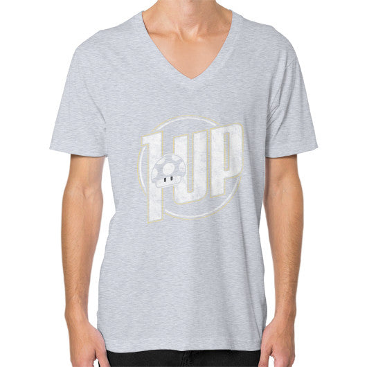 1 UP V-Neck (on man) Heather grey Zacaca Shop USA