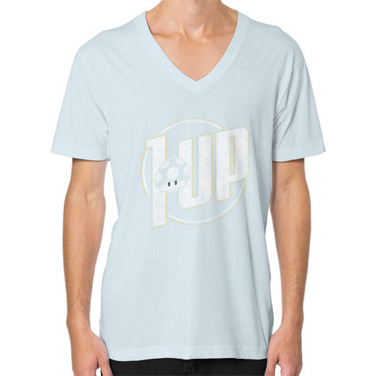 1 UP V-Neck (on man) Light blue Zacaca Shop USA