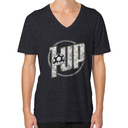 1 UP V-Neck (on man) Tri-Blend Black Zacaca Shop USA
