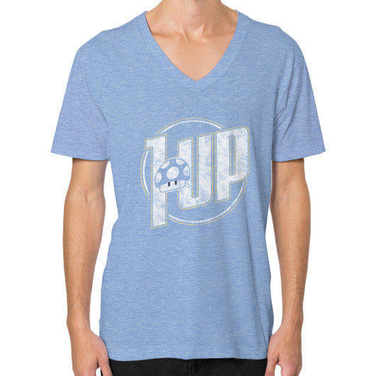 1 UP V-Neck (on man) Tri-Blend Blue Zacaca Shop USA