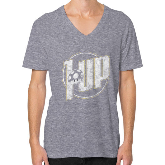 1 UP V-Neck (on man) Tri-Blend Grey Zacaca Shop USA
