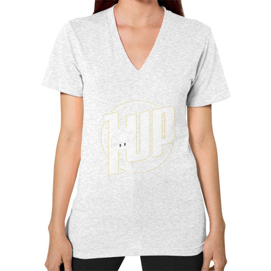 1 UP V-Neck (on woman) Ash grey Zacaca Shop USA