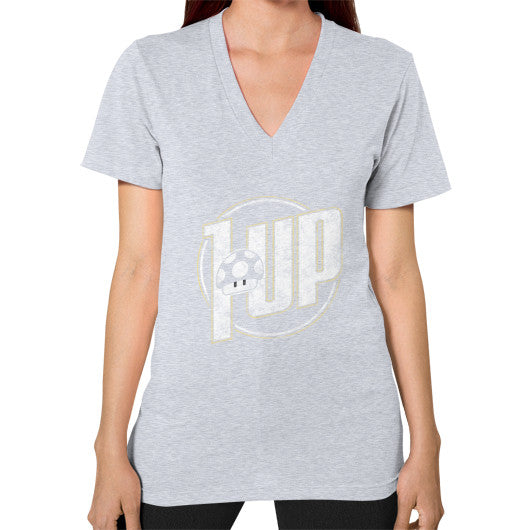 1 UP V-Neck (on woman) Heather grey Zacaca Shop USA