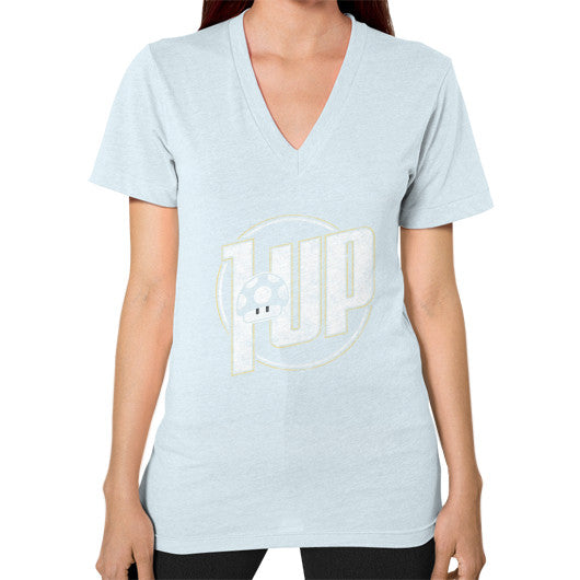 1 UP V-Neck (on woman) Light blue Zacaca Shop USA