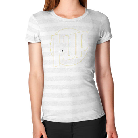 1 UP Women's T-Shirt Ash White Stripe Zacaca Shop USA