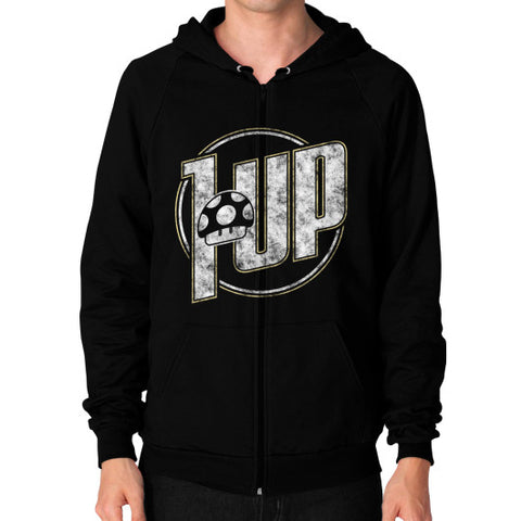 1 UP Zip Hoodie (on man) Black Zacaca Shop USA