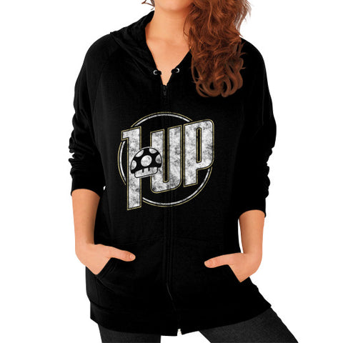 1 UP Zip Hoodie (on woman) Black Zacaca Shop USA