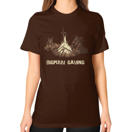 1 Year Anniversary! BIGPUMM GAMING  Unisex T-Shirt (on woman) Brown Zacaca Shop USA
