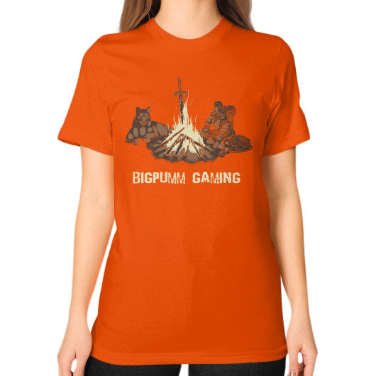 1 Year Anniversary! BIGPUMM GAMING  Unisex T-Shirt (on woman) Orange Zacaca Shop USA