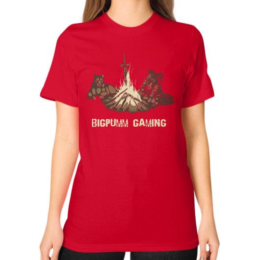 1 Year Anniversary! BIGPUMM GAMING  Unisex T-Shirt (on woman) Red Zacaca Shop USA